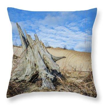 Dried Stump At Warren Dunes Throw Pillow