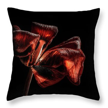 Dried Tulip Blossom Throw Pillow