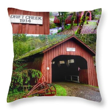 Drift Creek Covered Bridge Throw Pillow
