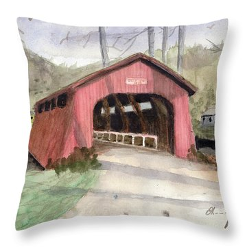 Drift Creek Covered Bridge Watercolor Throw Pillow