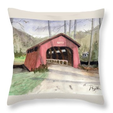 Drift Creek Covered Bridge Watercolor Throw Pillow