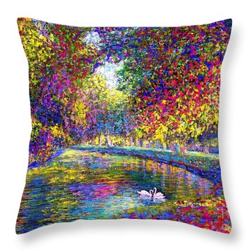 Drifting Beauties, Swans, Colorful Modern Impressionism Throw Pillow by Jane Small