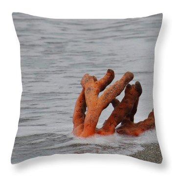 Drifting Coral Throw Pillow