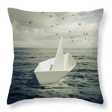 Throw Pillow featuring the photograph Drifting Paper Boat by Carlos Caetano