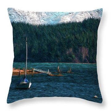 Throw Pillow featuring the digital art Drifting by Timothy Hack
