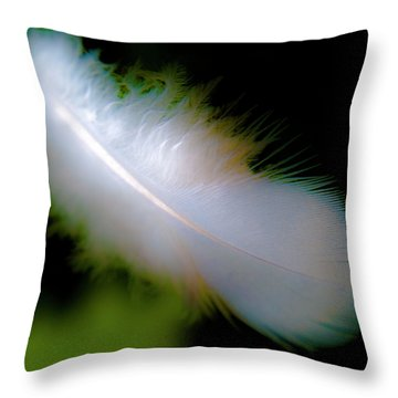Driftingfeather Throw Pillow by Grebo Gray
