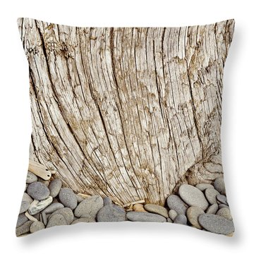 Throw Pillow featuring the photograph Driftwood And Rock Abstract Vertical by Peter J Sucy