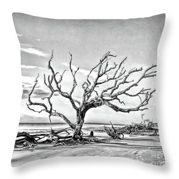 Throw Pillow featuring the photograph Driftwood Beach - Black And White by Kerri Farley