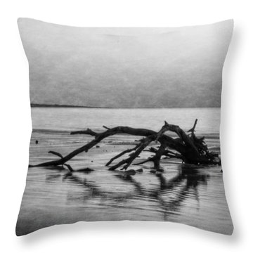 Driftwood Dream In Black And White Throw Pillow