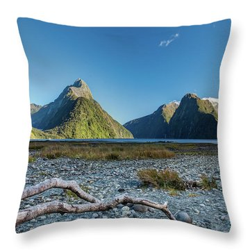 Throw Pillow featuring the photograph Driftwood In Milford Sound by Gary Eason