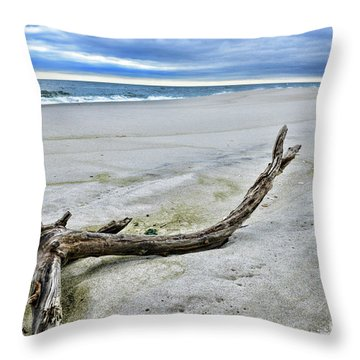 Driftwood On The Beach Throw Pillow by Paul Ward