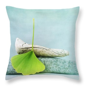 Driftwood Stones And A Gingko Leaf Throw Pillow by Priska Wettstein