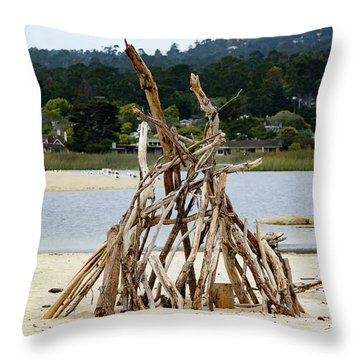 Driftwood Tipi With A View Throw Pillow