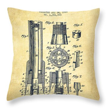 Drilling Bit For Oil Water Gas Patent From 1920 - Vintage Throw Pillow