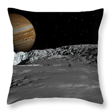 Drilling On Europa Throw Pillow