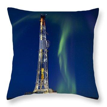 Drilling Rig Saskatchewan Throw Pillow by Mark Duffy