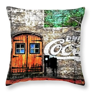 Throw Pillow featuring the photograph Drink Coca Cola  by Gray  Artus