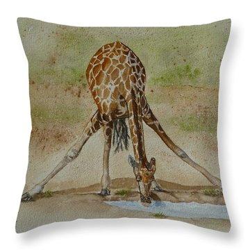 Drinking Giraffe Throw Pillow by Kelly Mills