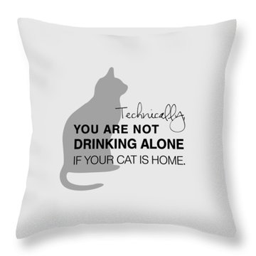 Throw Pillow featuring the digital art Drinking With Cats by Nancy Ingersoll