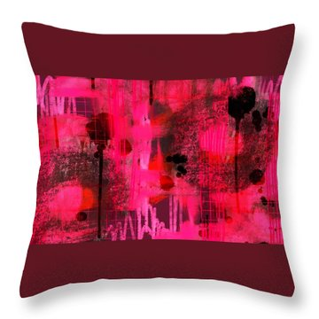 Throw Pillow featuring the digital art Dripping Pink by Lisa Noneman