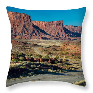 Drive Along Highway 128 Throw Pillow by Michael J Bauer