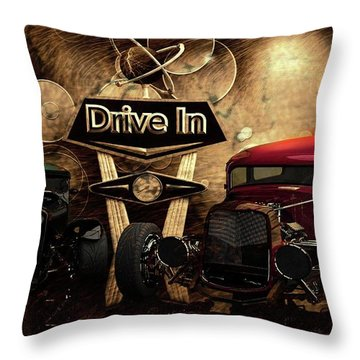 Throw Pillow featuring the photograph  Drive In by Louis Ferreira