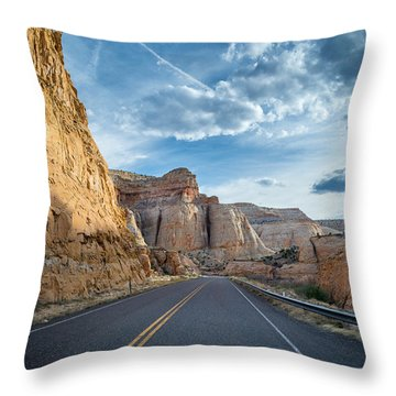 Drive Into Capitol Reef National Park Throw Pillow by Michael J Bauer