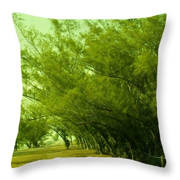 Drive Thru Pines Throw Pillow