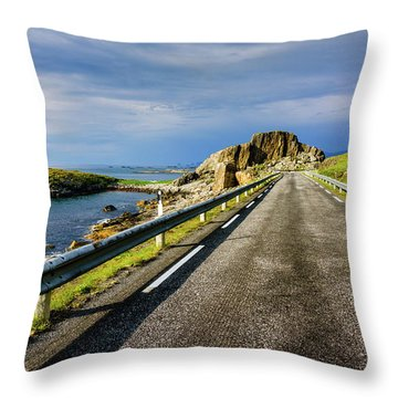 Throw Pillow featuring the photograph Driving Along The Norwegian Sea by Dmytro Korol