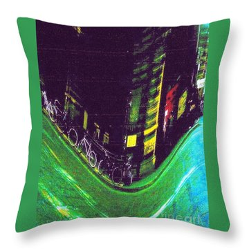 Driving By - Night Time In Bologna Throw Pillow