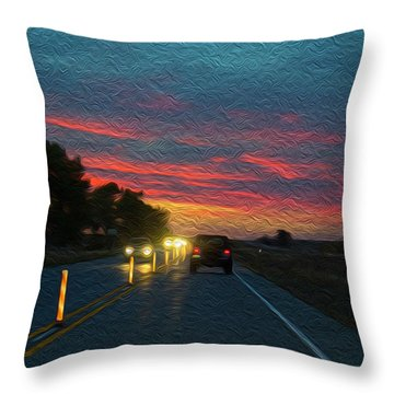 Driving Dusk Throw Pillow