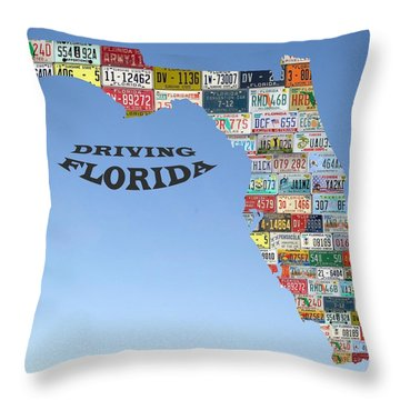Driving Florida Throw Pillow