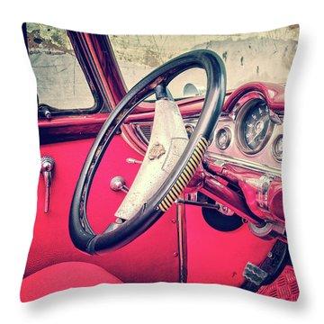 Driving In Havana Throw Pillow