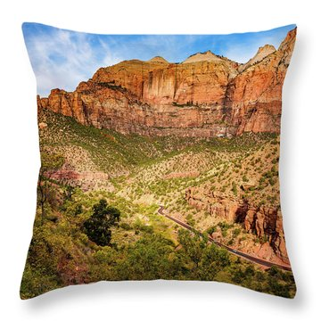 Driving Into Zion Throw Pillow