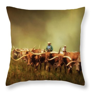 Driving The Herd Throw Pillow