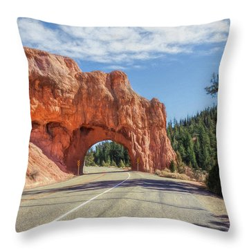 Driving Through Red Canyon Throw Pillow
