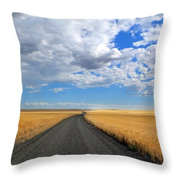 Driving Through The Wheat Fields Throw Pillow