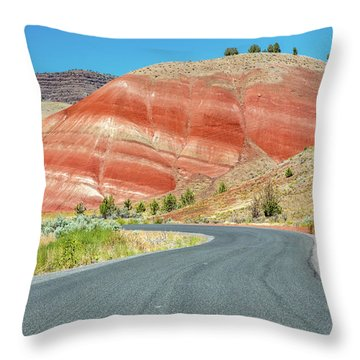 Throw Pillow featuring the photograph Driving To Painted Hills by Pierre Leclerc Photography