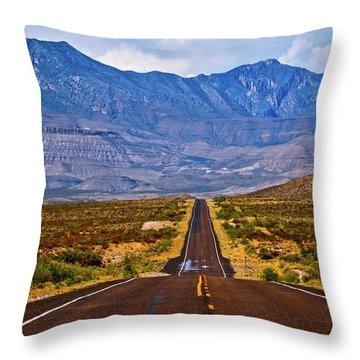 Driving To The Blue Throw Pillow