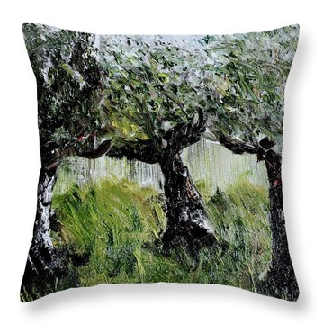 Throw Pillow featuring the painting Drizzle by Evelina Popilian