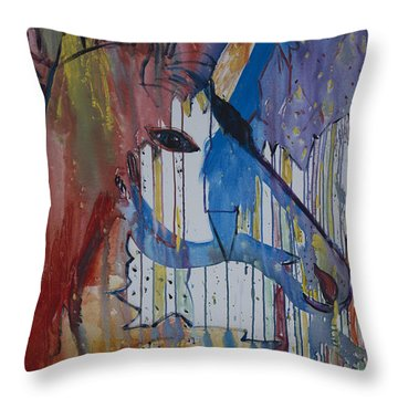 Throw Pillow featuring the painting Drizzled Unicorn  by Avonelle Kelsey