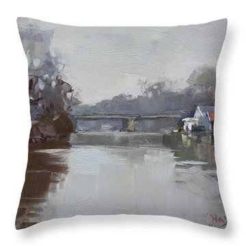 Drizzling At Tonawanda Canal  Throw Pillow