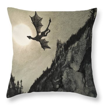 Throw Pillow featuring the painting Drogon's Lair by Suzette Kallen
