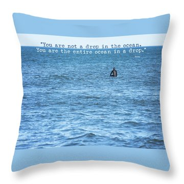Drop In The Ocean Surfer  Throw Pillow by Terry DeLuco