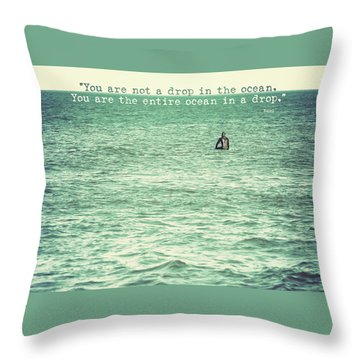 Drop In The Ocean Surfer Vintage Throw Pillow by Terry DeLuco