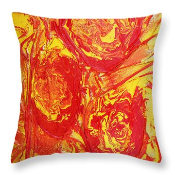 Drops Of Fire Throw Pillow by Angela Stout
