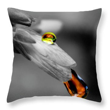 Drops On A Blossom Throw Pillow