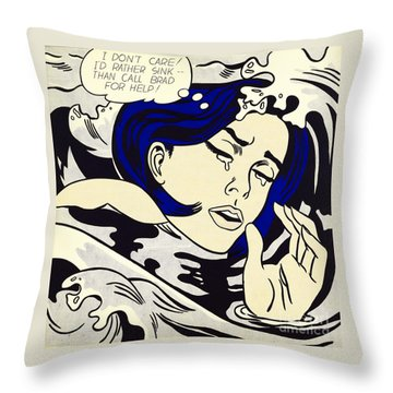 Drowning Girl - Aka Secret Hearts, I Don't Care Or I'd Rather Sink Throw Pillow