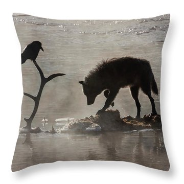 Druid Wolf And Raven Silhouette Throw Pillow
