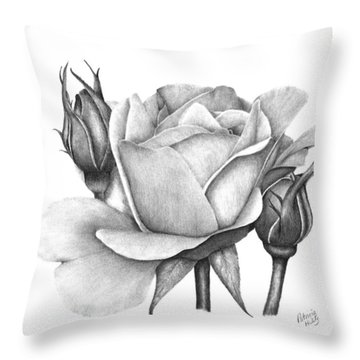 Drum Rose Throw Pillow by Patricia Hiltz